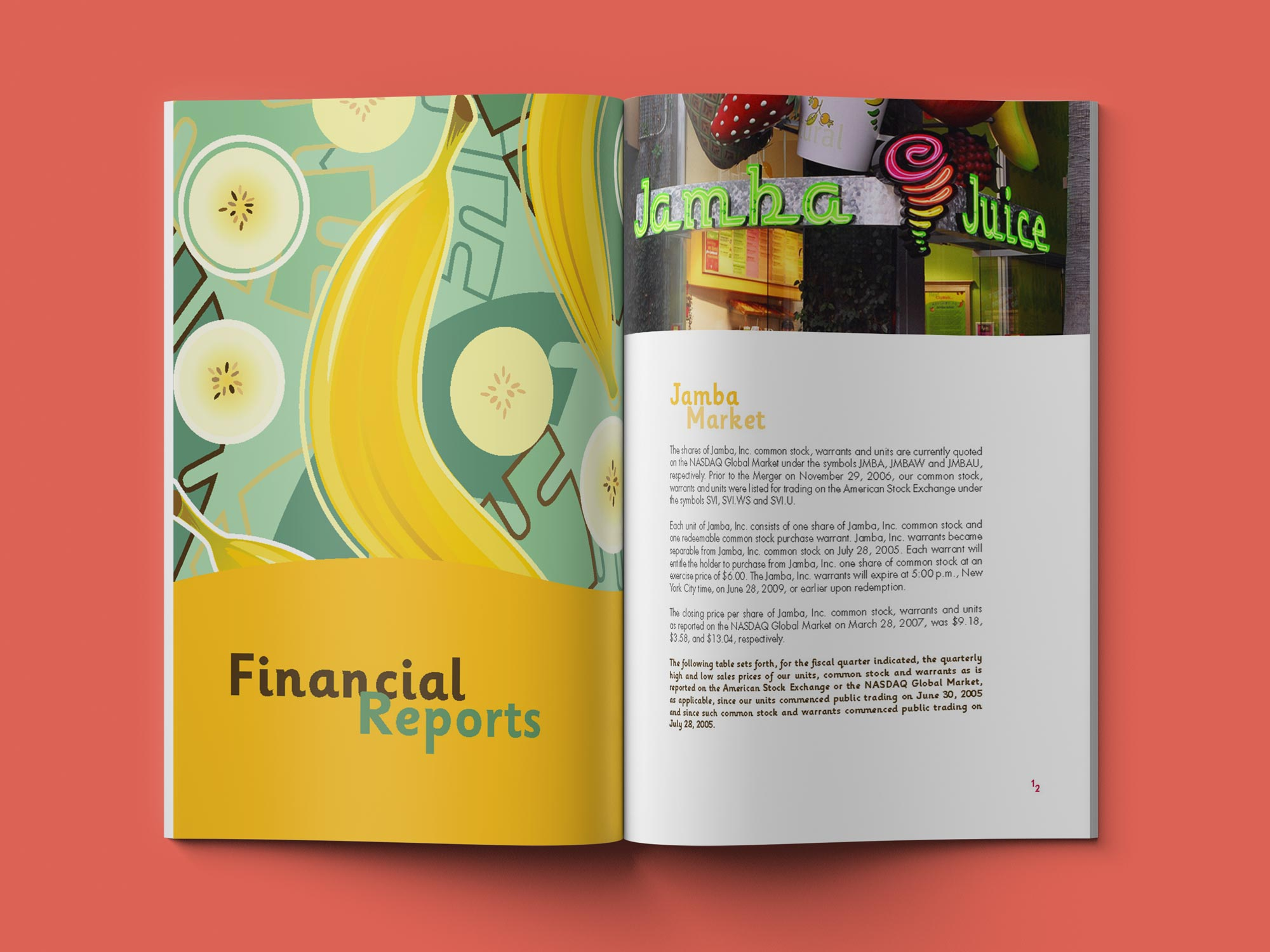 Jamba Juice Annual Report Financial Reports spread.