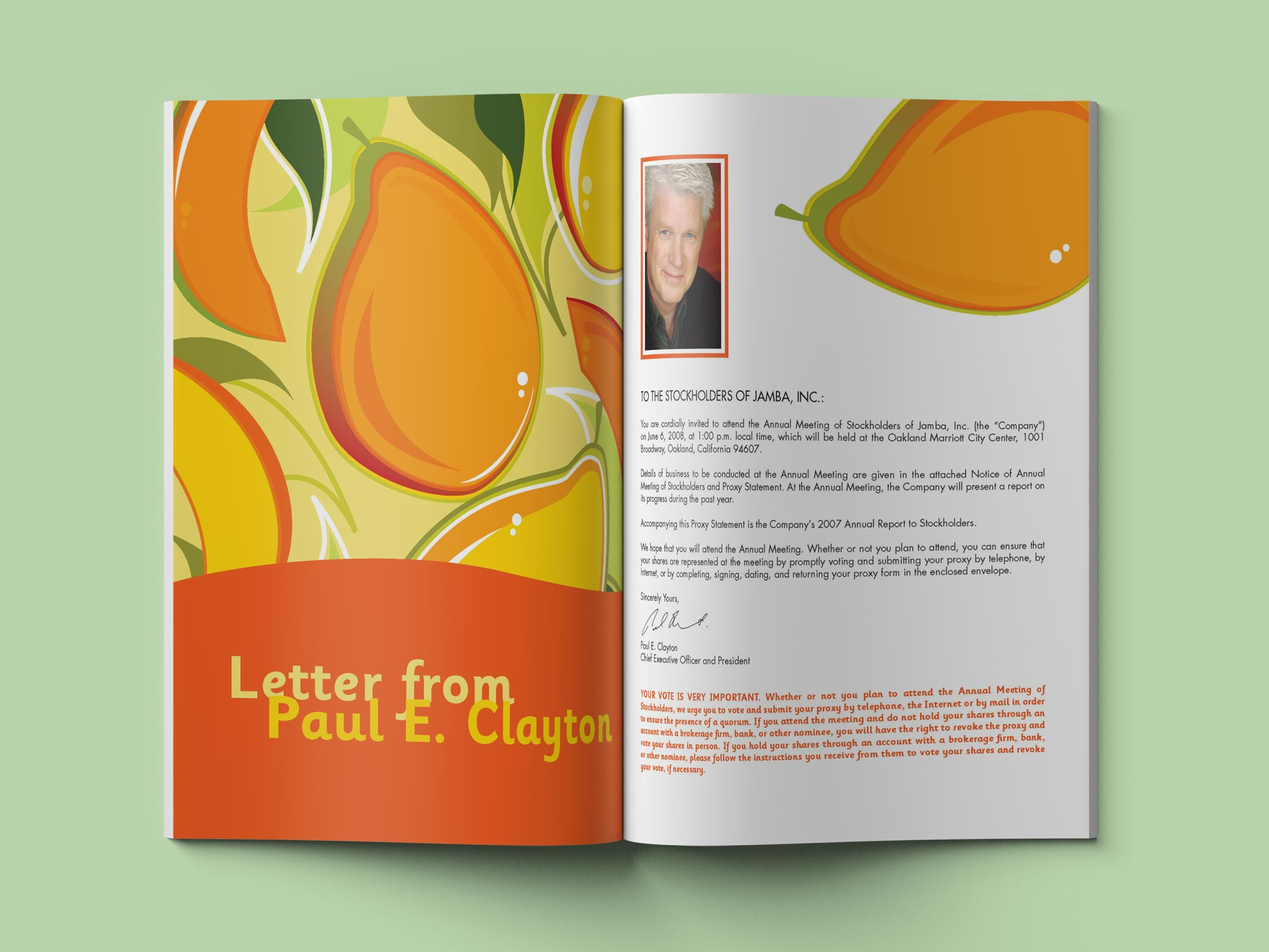 Jamba Juice Annual Report letter from Paul Clayton spread.