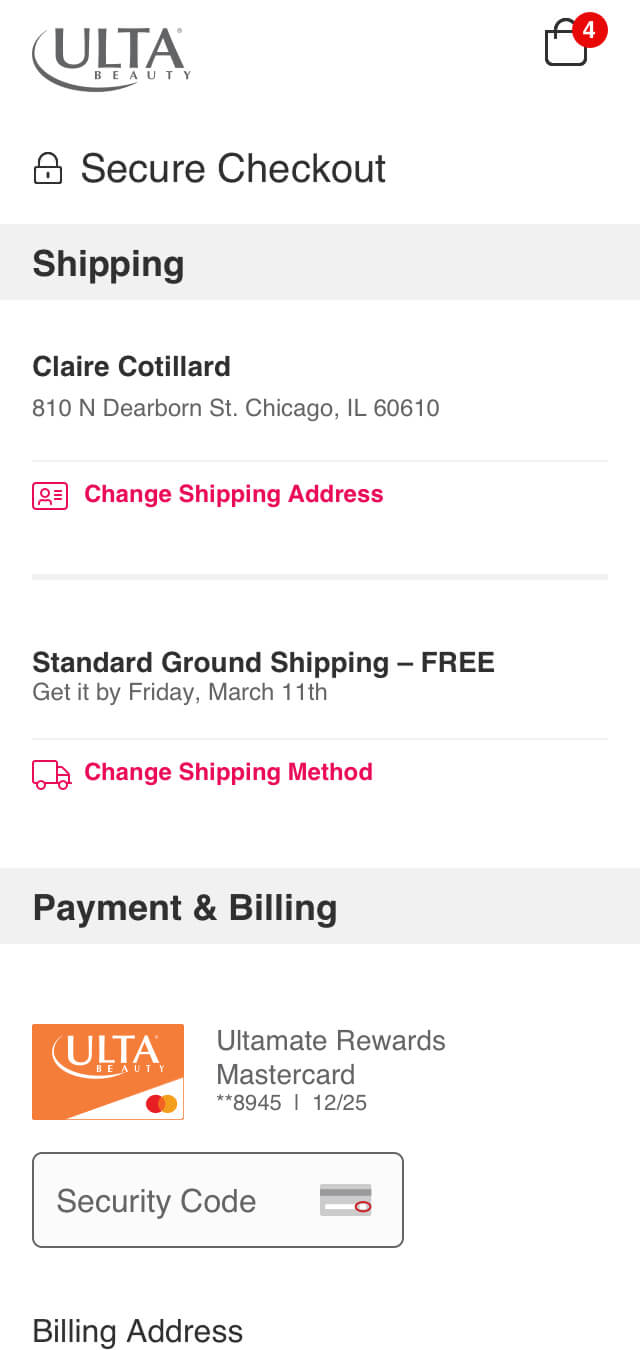 Ulta Beauty Checkout Redesign Mobile Guest Checkout.