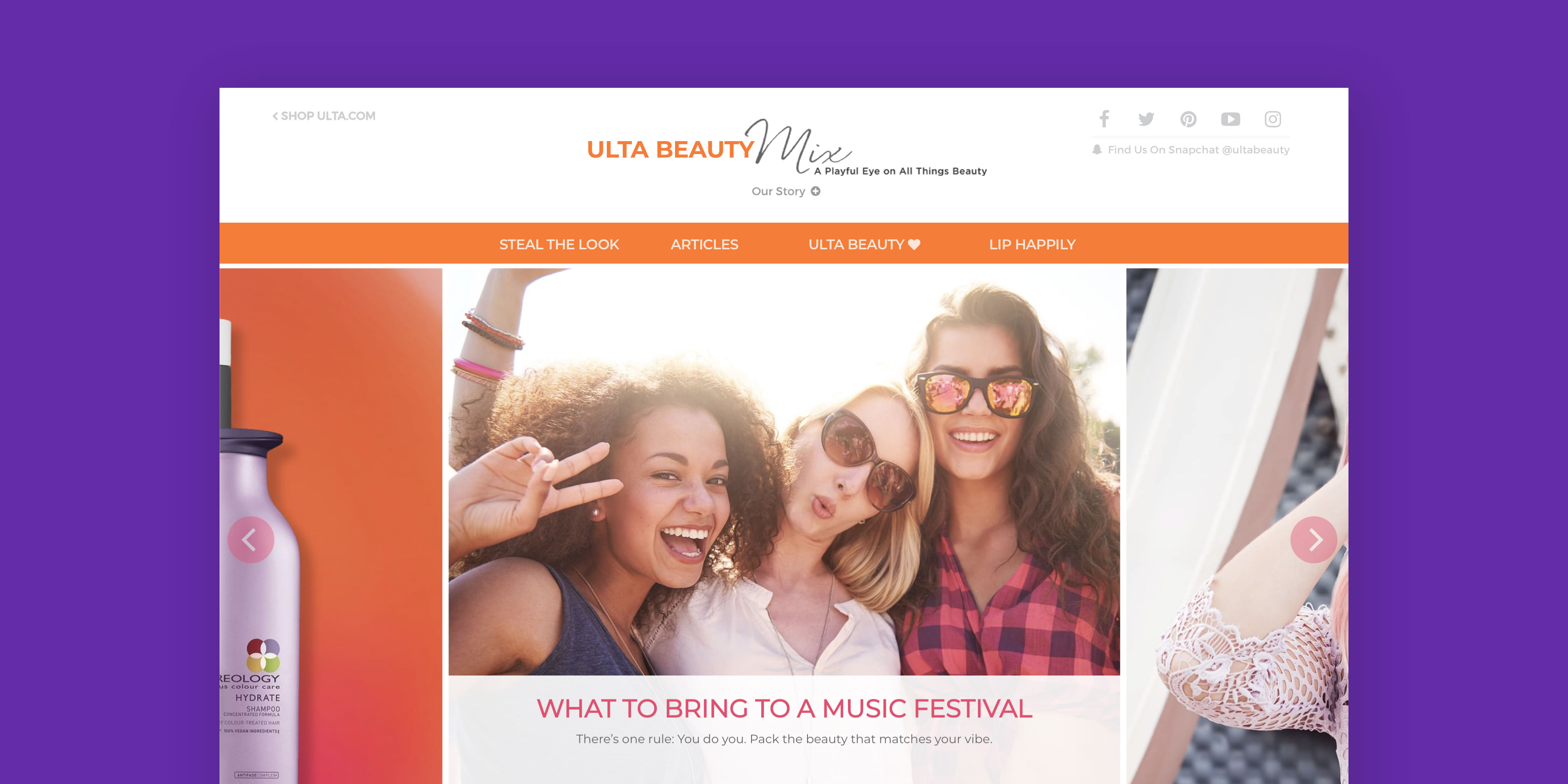 Ulta Beauty Mix Homepage.